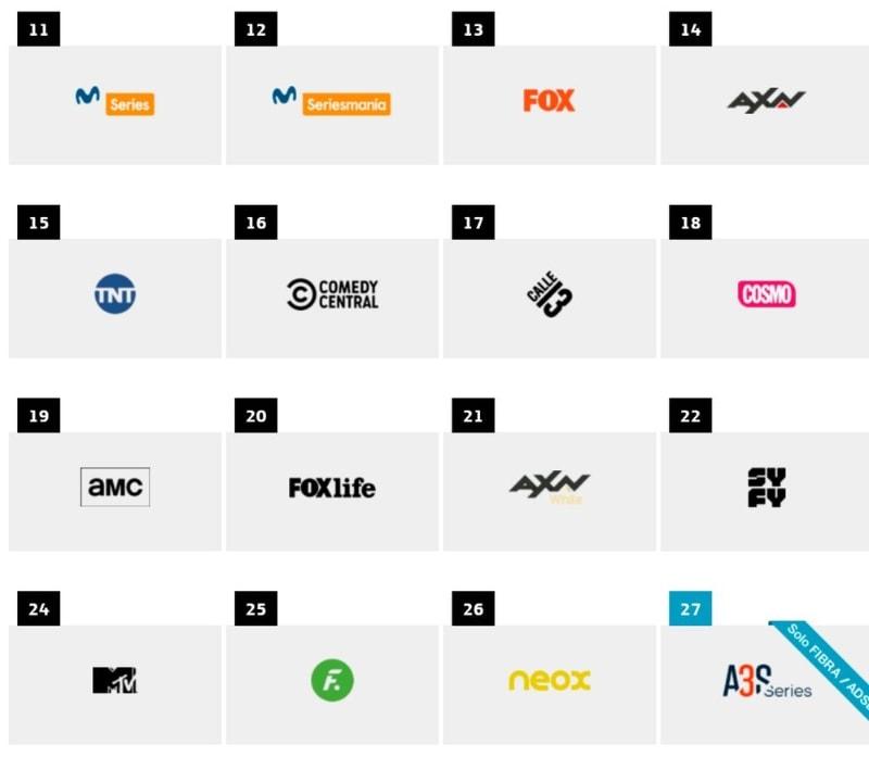 listado completo de canales y diales de Movistar+ series