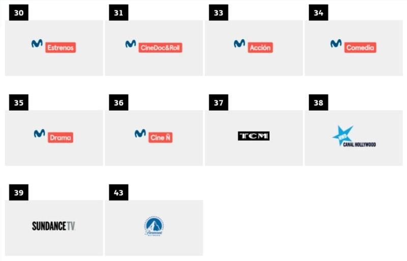 listado completo de canales y diales de Movistar+ cine