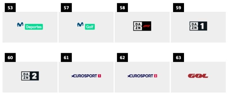 listado completo de canales y diales de Movistar+ deportes no futbol