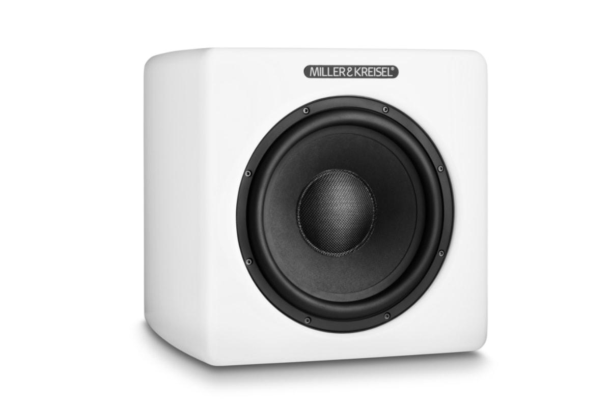lanzamiento M&K Sound V10+ subwoofer en blanco